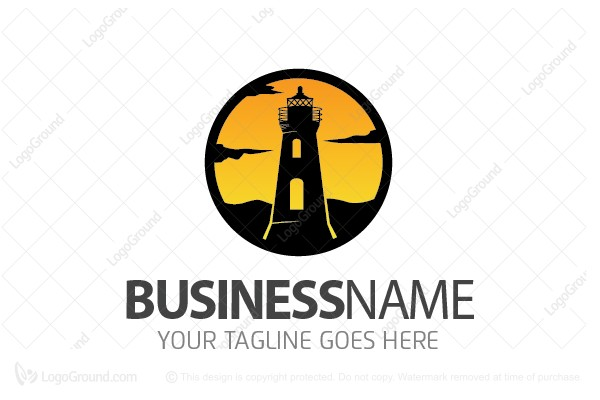 Logo for sale: Lighthouse Sunset Logo